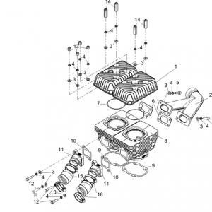 Цилиндровая группа РМЗ-500, 550, 551 и элементы систем впуска и выпуска