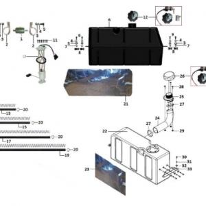 Система очистки воздуха и топливная система (квадроцикл РМ 800)
