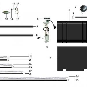Система очистки воздуха и топливная система (квадроцикл РМ 800 UTV Багги)