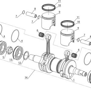 Вал коленчатый и поршни (блок двигателя РМЗ-500)