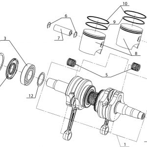 Вал коленчатый и поршни (блок двигателя РМЗ-550,551)